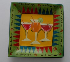 """222 Fifth-PTS International """"Party"""" Cocktail Square Serving Tray 11"""" Sq ... - $12.82"""