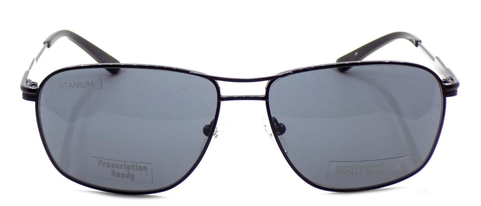 Harley Davidson HDX876 BLK-3 Aviator Sunglasses TITANIUM Black 59-15-140 Smoke