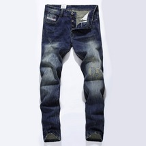 Fashion Designer Jeans Men Straight Dark Blue Color Printed Mens Jean 10... - $53.28