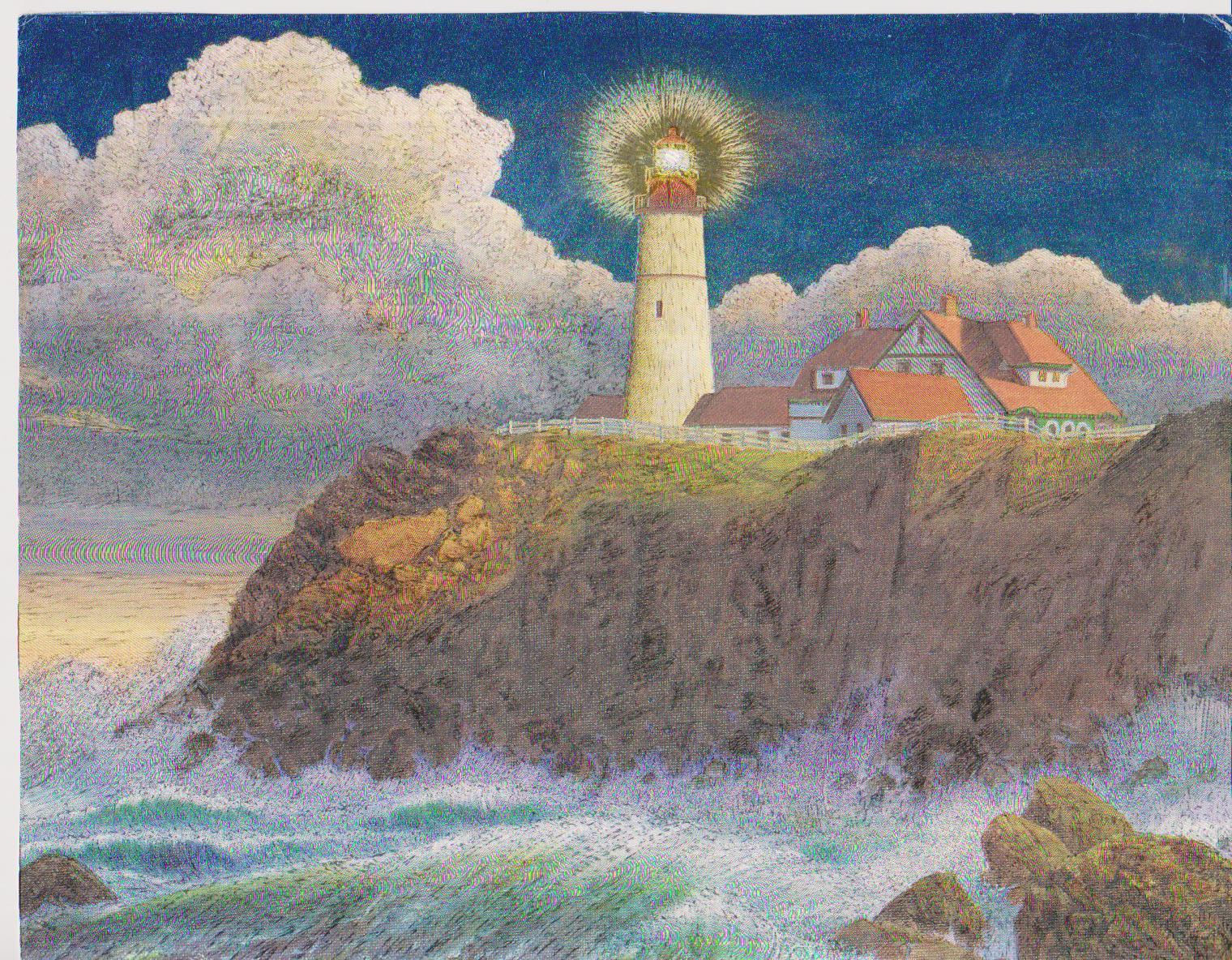 Primary image for  Portland Lighthouse Collectible Vintage 8X10 Foil Print