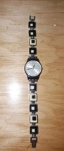 VINTAGE Swatch woman's wrist watch Black silver abstract squares Rare Original - $42.98