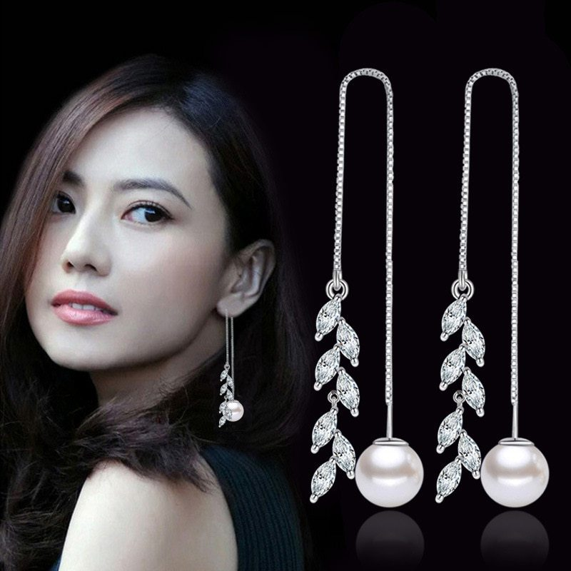 Primary image for 925 sterling silver fashion shiny rice crystal flower imitation pearl ladies`lon