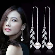 925 sterling silver fashion shiny rice crystal flower imitation pearl la... - $8.52