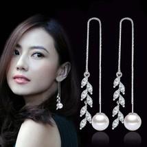 925 sterling silver fashion shiny rice crystal flower imitation pearl ladies`lon - $8.52
