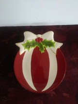 St. Nicholas Square Ornament Plate Holly Jolly - $18.69