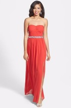 Hailey by Adrianna Papell Shirred Beaded Gown Dress Cardinal SZ 6 - $154.00