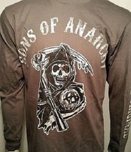 Sons Of Anarchy Soa Grim Reaper Logo Charcoal L/S Long Sleeve Shirt Size S-3Xl - $21.95