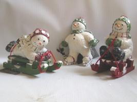 3  Winter  Frolic Christmas  Figures  Snowmen Ornaments Bethany Lowe - $45.49