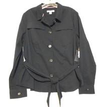 New Liz Claiborne New York Size 14 Black Belted Seer Sucker Cotton Blend Jacket - $15.55