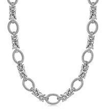 Sterling Silver  Rhodium Plated Knot Style and Textured Oval Chain Necklace - $181.56