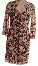 INC~NWT ~ Brown Paisley Print KNIT 3/4 Bell Sleeve Scoop Neck DRESS ~ Sz... - $29.69