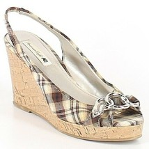 America Eagle Size 11 Plaid Wedge Stretch Shoes Sandals Open Toe - $38.00