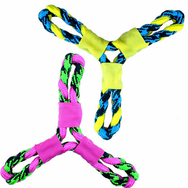 Primary image for Paracord Rope Dog Toys Twisted Tri Flyer Tough Durable Fetch Toss Tug 10 1/4""