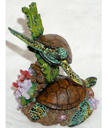 Colorful Sea Turtle Figurine Swimming & on Bottom Coral Sea Weed Etc Hea... - $27.99