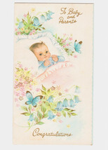 Vintage New Baby Embossed Card Congratulations Butterfly Flowers Greetin... - $5.94