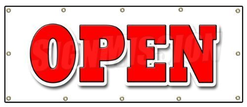 48x120 OPEN BANNER SIGN grand opening new store for business shop sale retail by