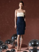 Dessy 8107....Cocktail length, Strapless, Chiffon Dress......Midnight...... - $39.59