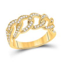 14kt Yellow Gold Womens Round Diamond Curb Cuban Link Band Ring 1/3 Cttw - $719.10