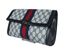 GUCCI Sherry Line GG Web PVC Canvas Leather Navy Blue Clutch Bag GP2253 - $289.00