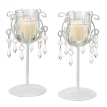 Metal Candle Stand, Iron Candle Stand With Glass Jewels - Ivory White St... - $18.99