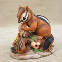 "Chipmunk Momma & Baby 5.5"" Porcelain Figurine on Tree Trunk w/ Acorns Mu... - $19.24"
