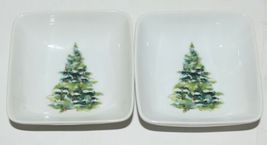PPD Christmas Condiment Bowls Decorated Tree  Wreath Set of 4 New Bone China image 3