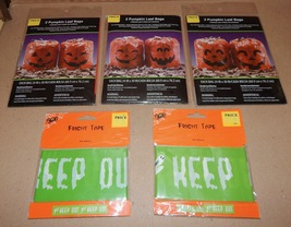 "Halloween Fright Tape 2ea & Orange Pumpkin Leaf Bags 6ea 24"" x 30"" 133U - $7.49"