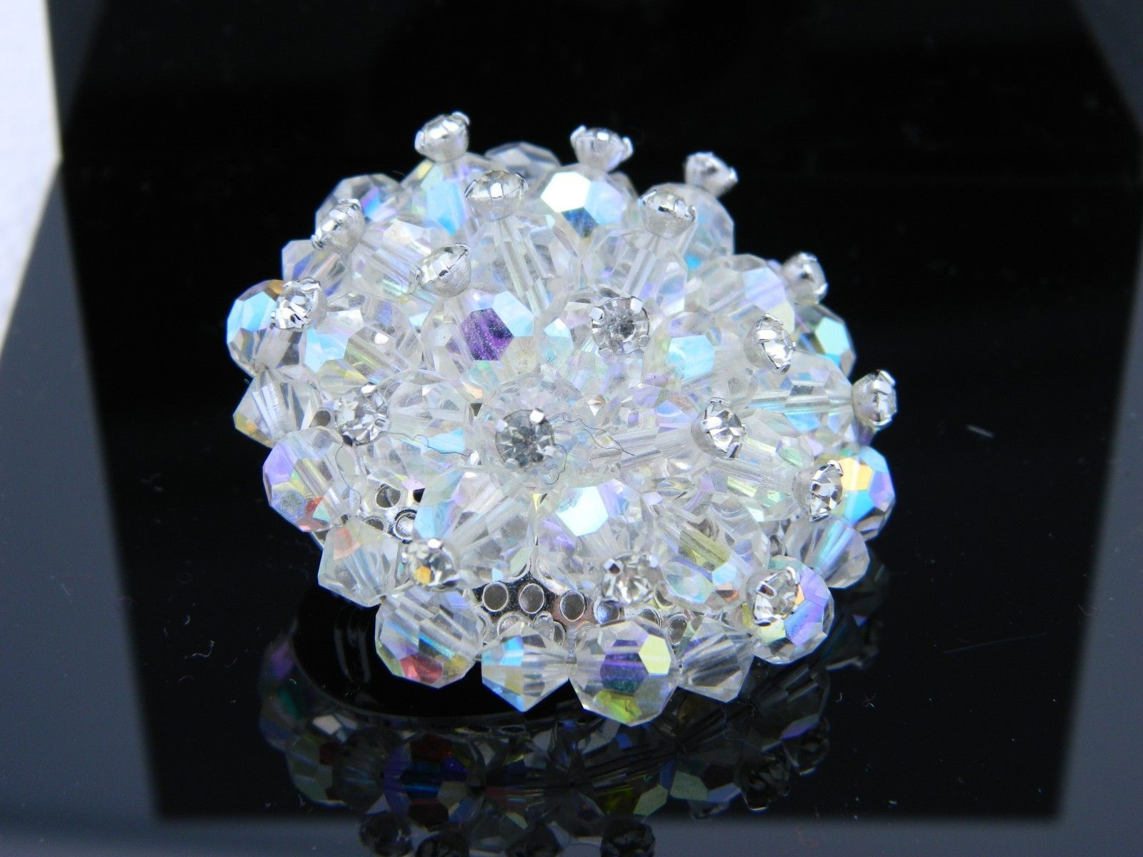 VTG RARE Clear AB Demi Parure Crystal Rhinestone Accented Glass Pin Brooch  (C)