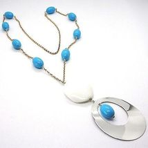 SILVER 925 NECKLACE PINK, AGATE WHITE UNDULATED, TURQUOISE, OVAL PENDANT, 75 CM image 3