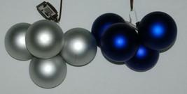 Trim a Home Color Blue Flat Pearl Christmas Ball Ornament Set 8 Pieces image 2