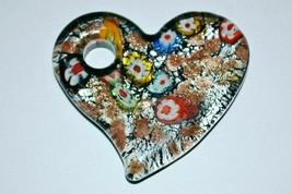 Vintage Murano Millefiori Glass Heart Pendant - $29.60