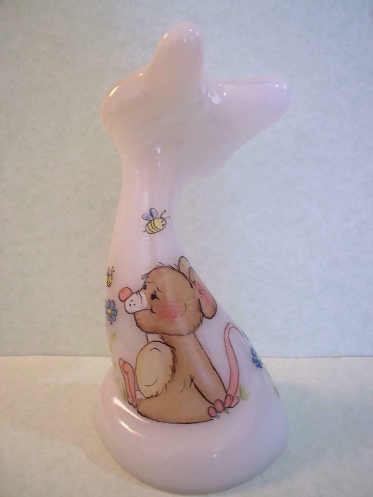 "Fenton Glass 6"" Whimsical Spring Floral Mouse Happy Cat FAGCA '19 Ltd Ed of 20"