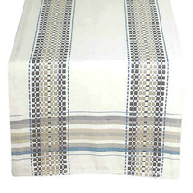 "Terra Woven French Picnic Table Runner 14x72"" in Beige Blue Country Farm  - $33.54"