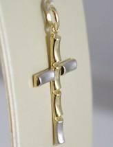 Pendentif Croix or Jaune Blanc 750 18K, Ondulés, Finition Satinée, Made en Italy image 2