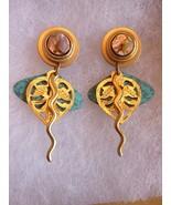 Artisan Dangle Post Earrings Gold tone Modernist Mother of Pearl - $29.35
