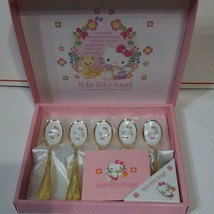 """Vintage 90s Hello Kitty Angel Spoon Set Of 5 Cutlery 4.9 """" Gold New In B... - $54.95"""
