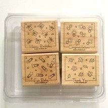 Fabulous Four Stampin Up Rubber Stamp 4pc Happy Birthday Baby Thank You ... - $3.96