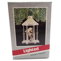 Unicorn Fantasy Lighted Horse Gazebo 1989 Vtg Christmas Tree Ornament Ne... - $14.82