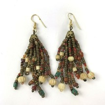 Vtg 70s Long Statement colorful Bead Earrings Hippie Boho Chic Danglers - $14.84