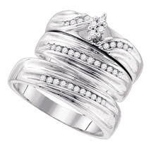 Sterling Silver His & Her Round Diamond Cluster Matching Bridal Wedding Ring Set - $240.00