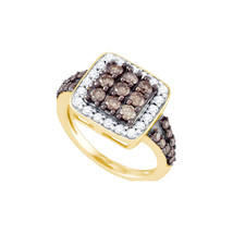 10k Yellow Gold Round Brown Color Enhanced Diamond Cluster Ring 1-5/8 - $1,079.00