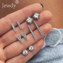 Jewdy® 5 Pairs/Set White Crystal Stud Earrings For Women Wedding Boucle - $3.19