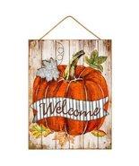 Welcome Pumpkin Wood Wall Decoration Autumn Decor Galvanized Metal Leaf - $39.99