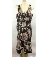 Ann Taylor 12P 12 Petite Dress Silk Sleeveless Brown Floral Lined Empire... - $68.67