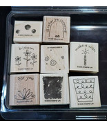 Retired Fun Filled Stampin Up 2005 Set 8 Wood Mounted Stamps Flowers Shopping - $10.99