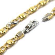 "18K YELLOW WHITE GOLD BRACELET FLAT MARINER OVAL ROUNDED LINKS, 20.5 cm, 8.1"" image 3"