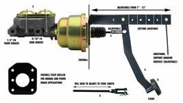 "8"" Dual Power Brake Booster Pedal Firewall Mount Bracket Assembly Street Rod image 2"