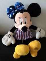 "Disney Store Minnie Mouse Plush Stuffed Animal Patriotic 4th Of July 17""... - $14.10"