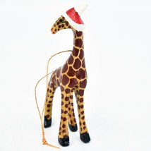 Hand Carved Painted Jacaranda Wood Santa Hat Giraffe Safari Christmas Ornament image 2