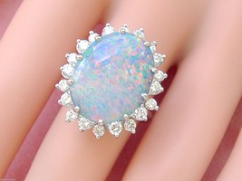 VINTAGE 1.15ctw DIAMOND 10 carat OVAL OPAL 14K COCKTAIL RIGHT-HAND RING ... - $6,925.05